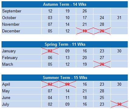 Term Calendar 2015-16
